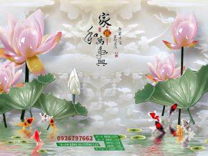 Tranh kính cá chép hoa sen giả ngọc