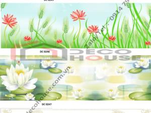 Mẫu kính ốp bếp hoa lá đơn giản