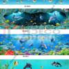 Mẫu kính ốp bếp cá heo đại dương