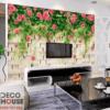 Tranh dán tường dải hoa hồng