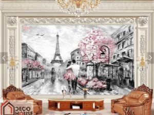 Tranh cảnh con đường lãng mạn Paris 25541