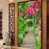 Tranh con đường hoa dán tường phòng khách 30052