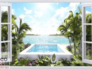 Tranh 3D cửa sổ đẹp 10296