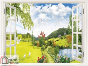 Tranh 3D cửa sổ đẹp 10556