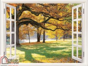 Tranh cửa sổ mùa thu lá vàng 10563