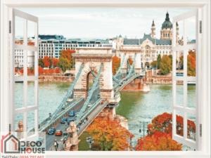 Tranh cửa sổ cây cầu 10568