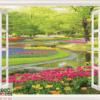 Tranh khung cửa sổ vườn hoa 10578