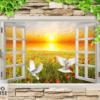 Tranh dán tường 3d khung cửa sổ 13336