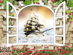 Tranh 3D cửa sổ con thuyền 5014