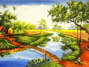 Tranh làng quê sơn dầu 11773