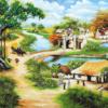 Tranh làng quê sơn dầu 60113