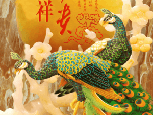 Tranh chim công 3D đẹp 264