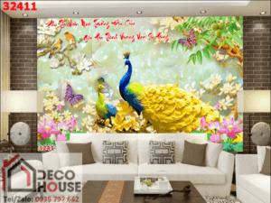 Tranh chim công 3D đẹp 32411