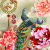 Tranh chim công hoa mẫu đơn 10932