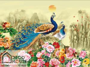 Tranh chim công và hoa mẫu đơn 10421