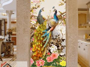 Tranh chim công và hoa mẫu đơn 25731