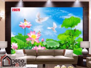 Tranh dán tường hoa sen đẹp 28679