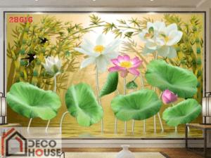 Tranh dán tường hoa sen đẹp 28616