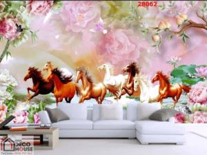 Tranh dán tường phòng khách ngựa 28062