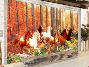 Tranh dán tường phòng khách ngựa 50128