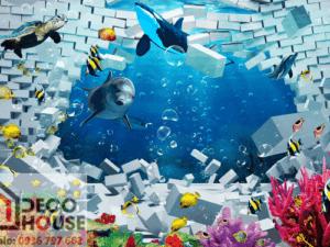 Tranh 3D cá heo đẹp 37