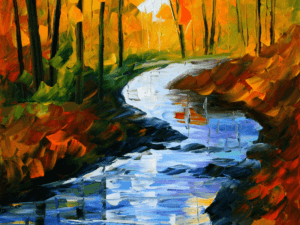 Tranh sơn dầu dòng sông 195