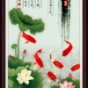 Tranh cá chép hoa sen 3D 3472