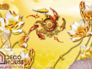 Tranh cá chép hoa sen vàng 15098
