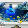 Tranh dán tường cá heo 3D 131