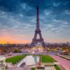 Tranh kính 3D tháp Eiffel treo phòng khách 10386